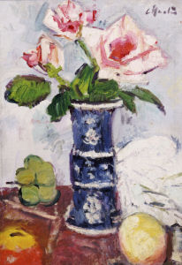 Pink Roses in a Chinese Blue & White Vase by Leslie Hunter