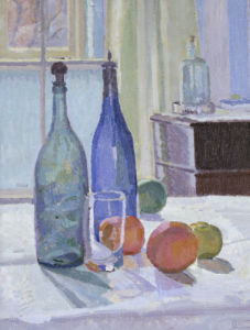 Blue And Green Bottles And Oranges by Spencer Gore