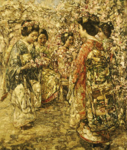 Five Japanese Girls Among Blossoming Trees, 1921 by Edward Atkinson Hornel