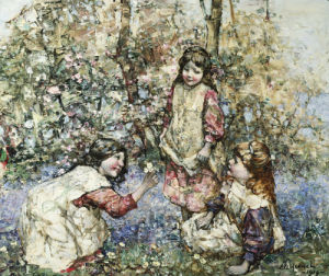 Gathering Primroses, 1919 by Edward Atkinson Hornel