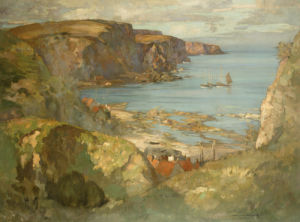 An East Coast Fishing Village, Burnmouth, With Trawlers Anchored Offshore by James Whitelaw Hamilton