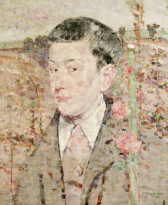 A Portrait Of A Boy, Bust Length, Wearing A Grey Suit And Pink Cravat, 1910 by John Quinton Pringle