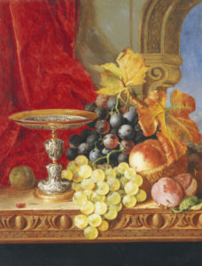 Grapes And A Peach With A Tazza On A Table At A Window by Edward Ladell