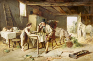Game Of Draughts, 1891 by Charles Hunt