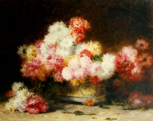 Chrysanthemum And Other Flowers In A Bowl by Abu'l Hasan Ghaffari