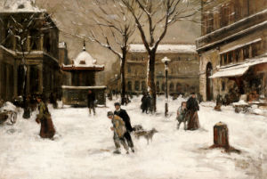 A Winter Street Scene, Paris by Luigi Aloys-François-Joseph Loir