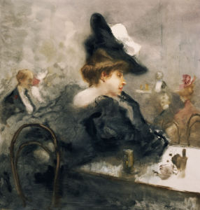 Donna Elegante Vestita Di Nero Al Caffe (Elegant Lady In Black In A Cafe) by Pompeo Mariani