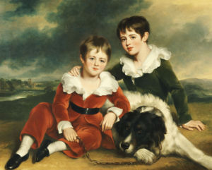 Portrait Of Two Boys In Green And Red Velvet Suits by Ramsay Reinagle