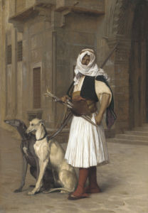 Anaute Avec Deux Chiens Whippets, 1867 by Jean-Leon Gerome