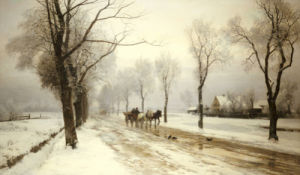 An Extensive Winter Landscape With A Horse And Cart, 1882 by Anders Andersen-Lundby