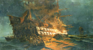 The Loss Of The Ajax Off Cape Janissary by Konstantinos Bolanachi