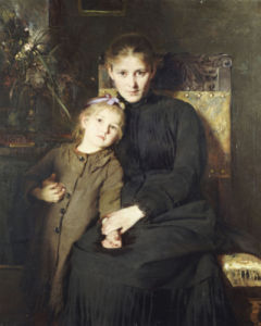 A Mother And Daughter In An Interior by Bertha Wegmann