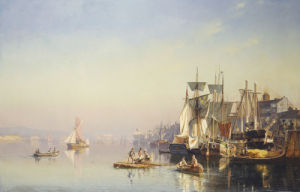 Fishing Boats And Barges On The Thames At Greenwich by Carl Neumann