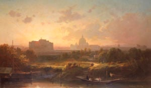 View Of Rome At Sunset With St. Peter's And Castel S. Angelo by Antoine Ponthus-Cinier