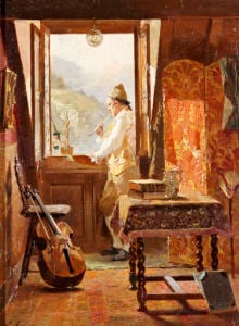 At The Window by Francois Adolphe Grison