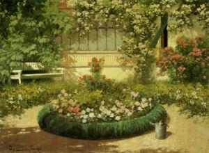 A Sunlit Flower Garden by Laszlo Neogrady