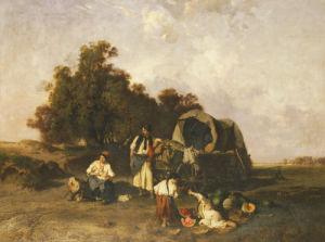 A Gypsy Encampment, 1895 by Pal Bohm