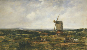 An Extensive Landscape With Figures By A Windmill by Frederick Watts