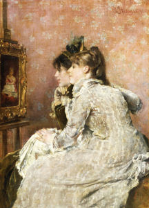Admiring The Portrait, 1879 by Alfred Sisley