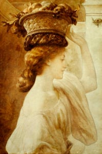 Eucharis; A Girl With A Basket Of Fruit by Lord Frederic Leighton