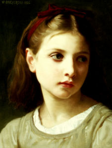 Une Petite Fille. (Portrait Of A Little Girl Wearing A Red Bow), 1886 by Adolphe William Bouguereau