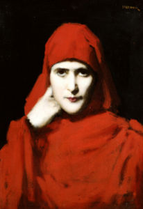 A Woman In A Red Cloak by Jean-Jacques Henner