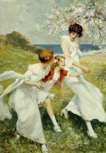 A Spring Day By The Seashore by Rene Lelong