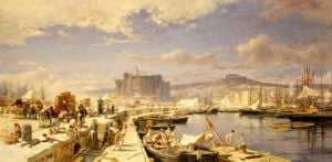 The Harbour Of Naples With Men Unloading Fishing Boats by Franz Theodor Aerni