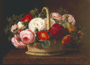 Roses In A Basket On A Ledge, 1838 by Johan Laurents Jensen
