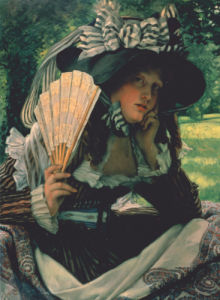 Girl With A Fan, Circa 1870 by James Jacques Joseph Tissot