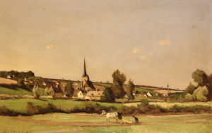 An Extensive Landscape With A Ploughman And A Village Beyond, 1887 by Henri Joseph Harpignies