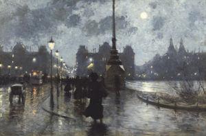 Copenhagen By Night by Paul Gustav Fischer