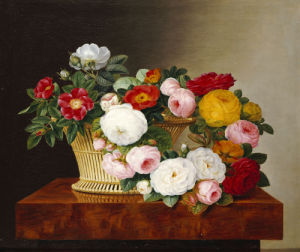Still Life Of Roses In A Basket On A Ledge by Johan Laurents Jensen