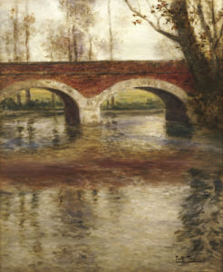 A River Landscape With A Bridge by Fritz Thaulow