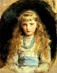 Portrait Of Beatrice Caird, Wearing A White Dress With Blue Sash by Sir John Everett Millais