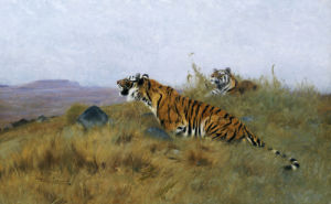 Tigers Stalking Their Prey by Wilhelm Kuhnert