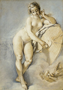 Venus Standing, Gesturing Towards A Heart On A Targe With Two Doves, 1754 by Francois Boucher