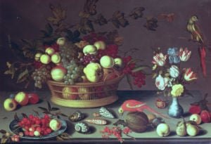 A Basket Of Grapes And Other Fruit by Balthasar van der Ast
