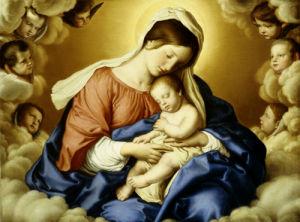 The Madonna And Child In Glory With Cherubs by Sassoferrato (Giovanni Battista Salvi)