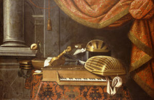 Lutes With A Clavichord On A Table, A Red Curtain Above by Christie's Images
