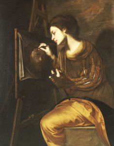 A Female Artist Painting The Image Of The Sudarium by Francesco Guarino