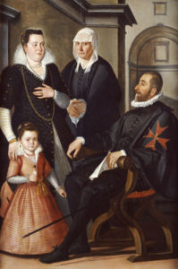 Group Portrait Of A Knight Of Malta, Seated Wearing Black Costume And Holding A Letter by Santi di Tito