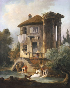 Washerwomen Outside The Temple Of The Sibyl, Tivoli by Hubert Robert