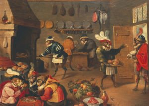 Les Singes Cuisiniers. The Monkey's Cooks by David Teniers the Younger