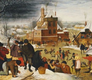 Townsfolk Skating On A Castle Moat by Pieter Brueghel The Younger