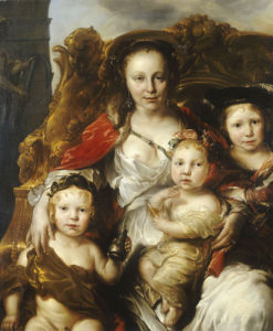 A Pastoral Group Portrait Of A Lady And Three Children Seated On A Gilded Throne by Jan Van Noordt