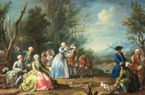 Two Court Ladies Out Shooting With Their Retinue by Jacopo Amigoni