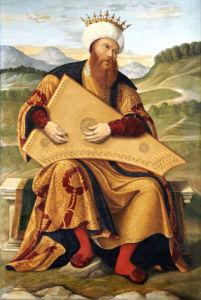 King David Playing A Psaltery by Girolamo da Santa Croce