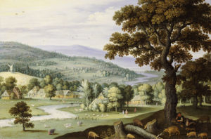 A River Valley With A Swineherd Resting Under A Tree In The Foreground by Marten Ryckaert