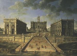 A View Of The Piazza Del Campidoglio And The Cordonata, Rome by Christie's Images